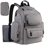 Mancro Diaper Backpack Bag for Mom, Multi-Function Large Travel Backpack for Women Men, Maternity Nappy Bags for Baby Nursing Care, Durable Stylish Mommy Bag with Changing Mat Stroller Straps Grey
