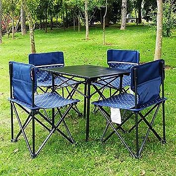 KOKR Mesa de Camping Plegable Portátil con sillas Plegables para Barbacoa de Picnic (Cuatro sillas