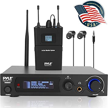 Pyle Audio en oreja sistema de Monitor y receptor, 100 pre-set Selector de audio frecuencia UHF sistema monitor inalámbrico, 2 Combo XLR + 1/4-inch ...
