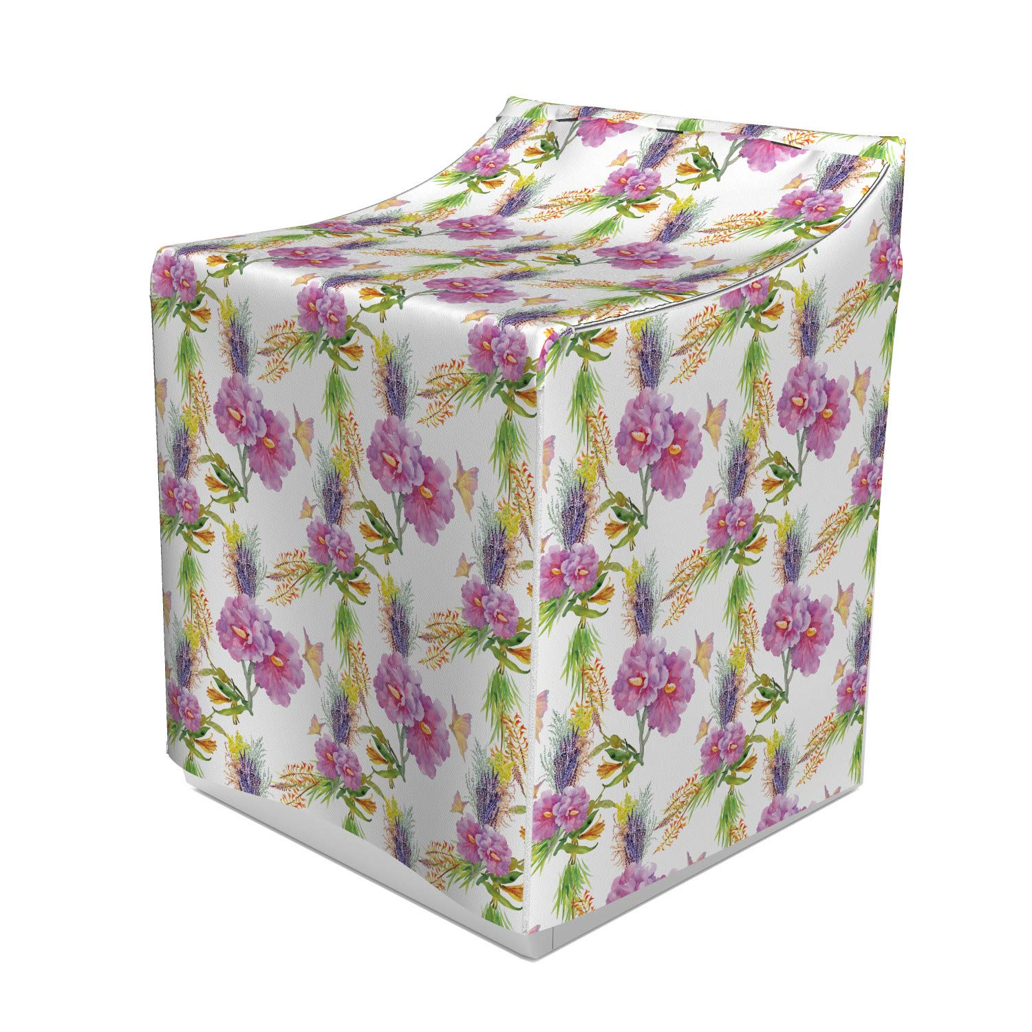 Lunarable Floral Washer Cover, Watercolor Illustration of Romantic Flower Bouquet of Lilac Lavenders and Peonies, Suitable for Dryer and Washing Machine, 29'' x 28'' x 40'', Multicolor