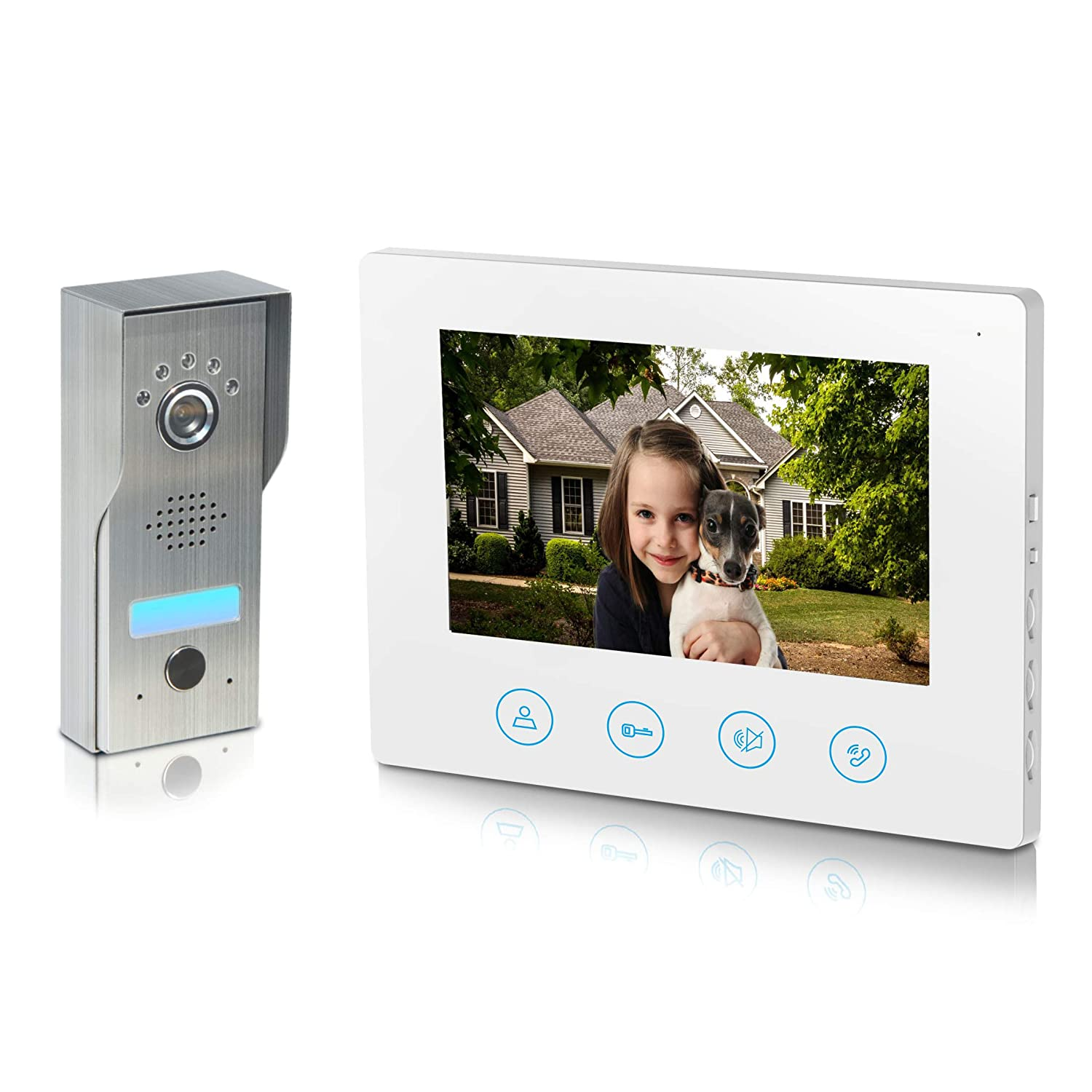 Video Doorbell 7inch Monitor 4-Core wired IP44 water-proof Video Door Phone Intercom Kit 1-camera 1-monitor Night Vision Touch Button Color Screen – No Wi-Fi APP 4wire White