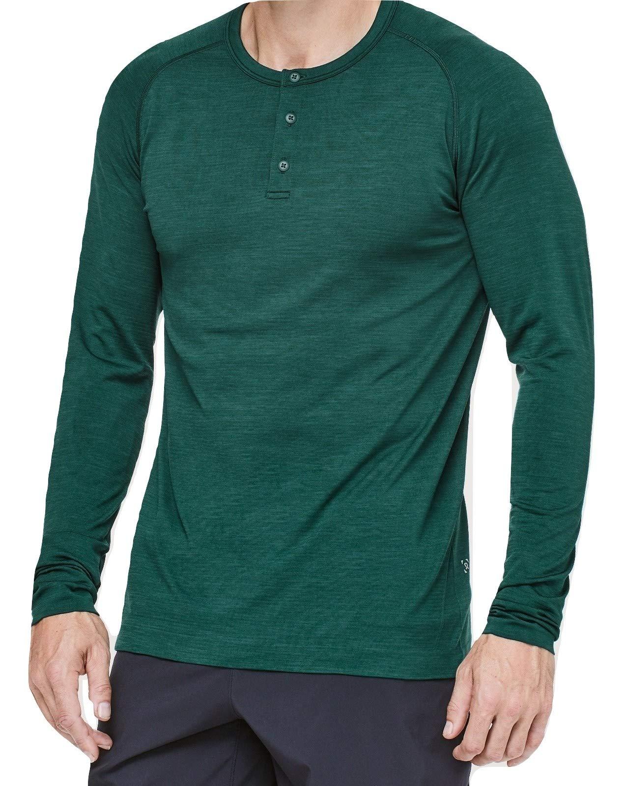 Lululemon Mens Metal Vent Tech Henley Long Sleeve Shirt (Royal Emerald, XXL)