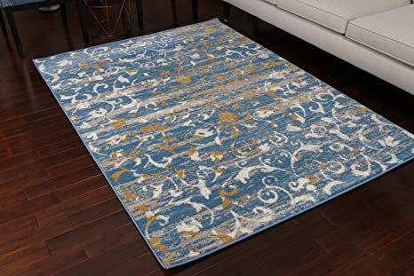 Amazoncom Paris Collection Oriental Carpet Area Rug Cream Blue