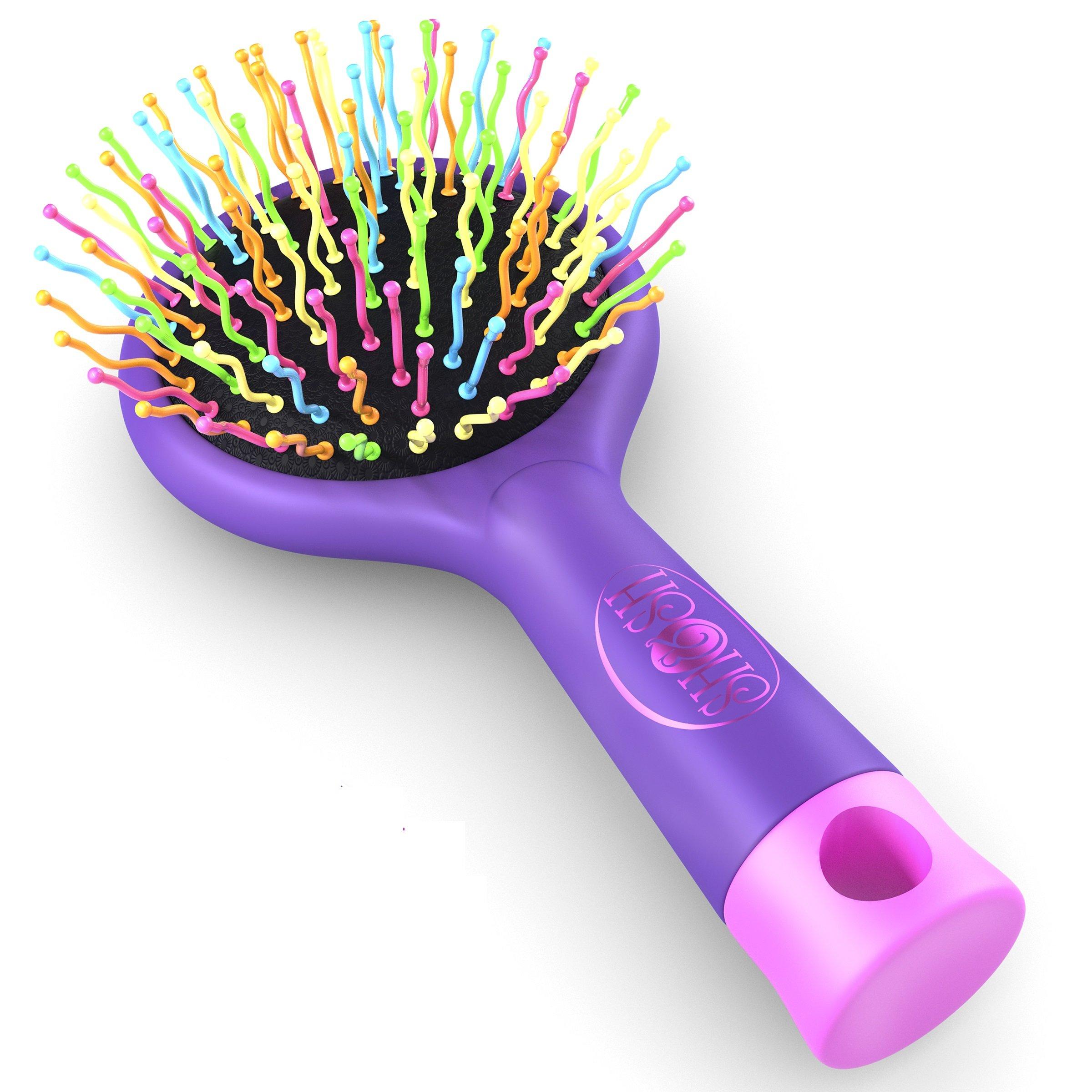 Detangling Brush with a Mirror - Soft Bristle- Straightening Detangler- For All Hair Types (Purple)