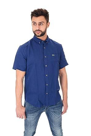 Lacoste - Camisa Casual - para Hombre Azul Ocean Blue: Amazon.es ...