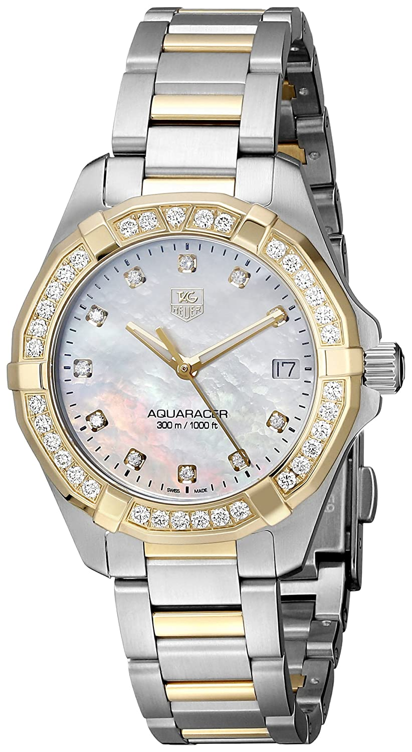 51b7ea915028f Amazon.com  Tag Heuer Women s WAY1353.BD0917 300 Aquaracer Diamond-Accented  Two-Tone Watch  Tag Heuer  Watches