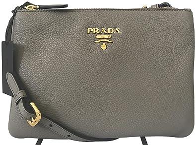 517023f437c9 Prada Dove Gray Vitello Phenix Designer Crossbody Bag for Women 1BH046:  Handbags: Amazon.com