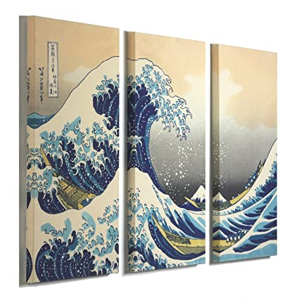 Amazon.com: 3 Panel Canvas Print Wall Art - The Great Wave Off ...