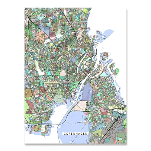 Amazon.com: Copenhagen Map Print, Denmark, Europe City Art, Colorful ...