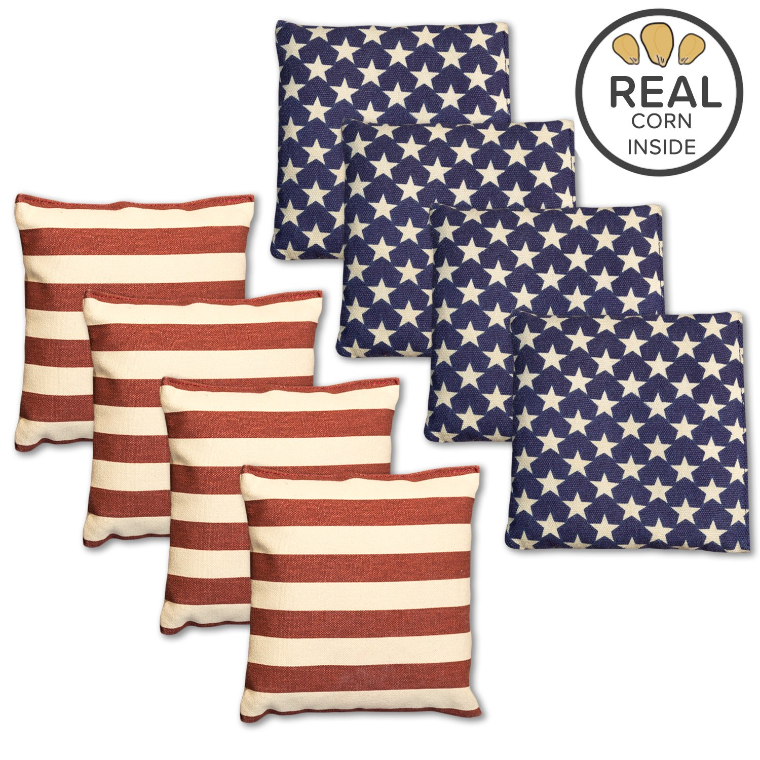 Corn Filled Cornhole Bags - Set of 8 American Flag Bean Bags for Corn Hole Game - Regulation Size & Weight - Stars and Stripes by Play Platoon