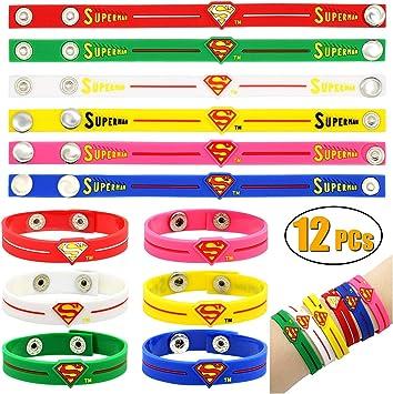 Wuree 12 Pack Super Tema Pulseras de Silicona Pulseras Pulseras ...