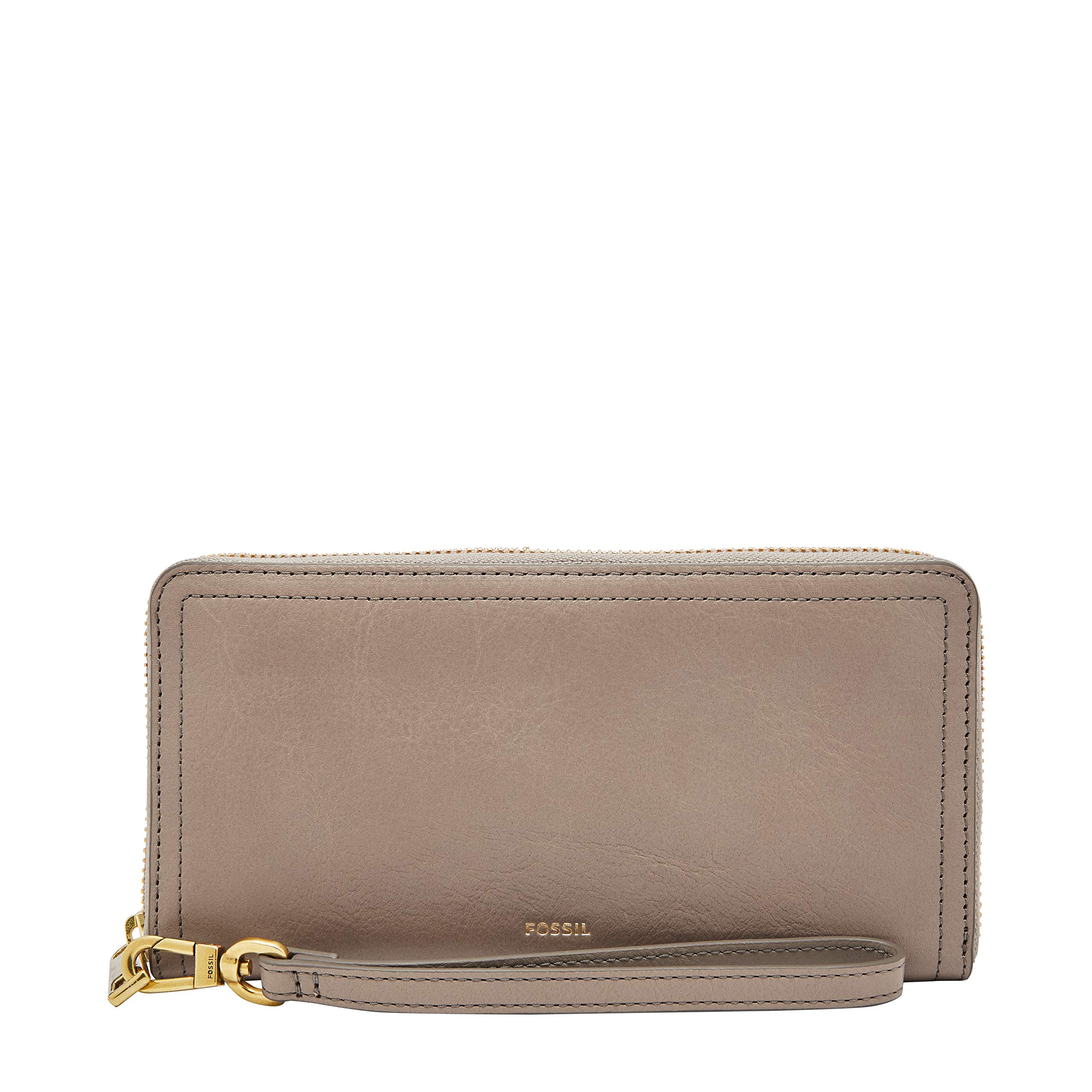 Fossil Logan RFID Zip Around Clutch Light Taupe