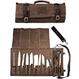 Chef Knife Roll Bag Holds 10 Knives PLUS Slots for Culinary Tools (Bag Only) - Canvas and Leather Knife Case for Professional