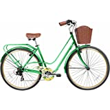 """Gama Bikes Women's City Avenue Step-Thru 7 Speed Shimano Commuter Bicycle, 17""""/One Size, Green"""
