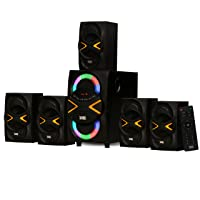 Acoustic Audio by Goldwood 5.1 Speaker System 5.1-Channel with LED lights and Bluetooth Home Theater Speaker System, Black (AA5210)