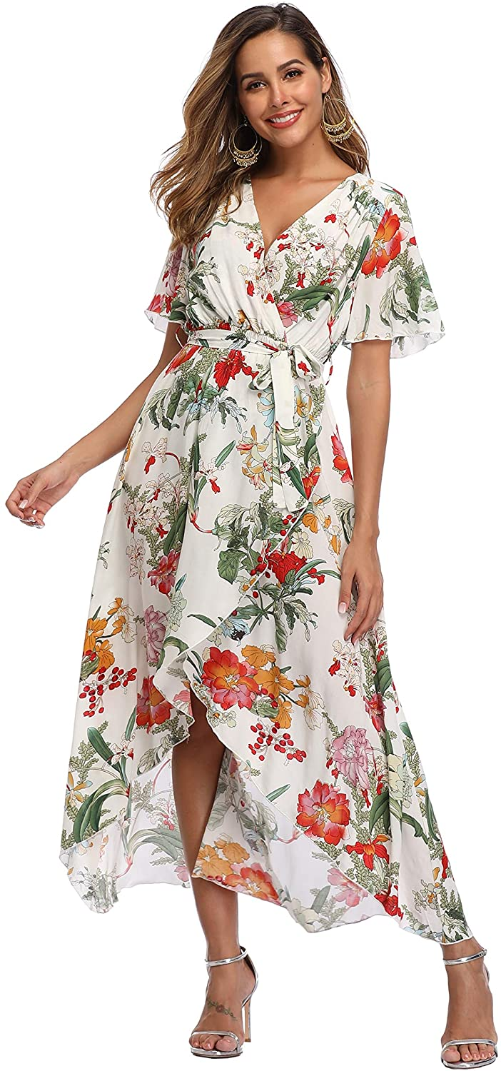 VintageClothing Women's Wrap V Neck Floral Summer Dresses High Low Maxi Casual