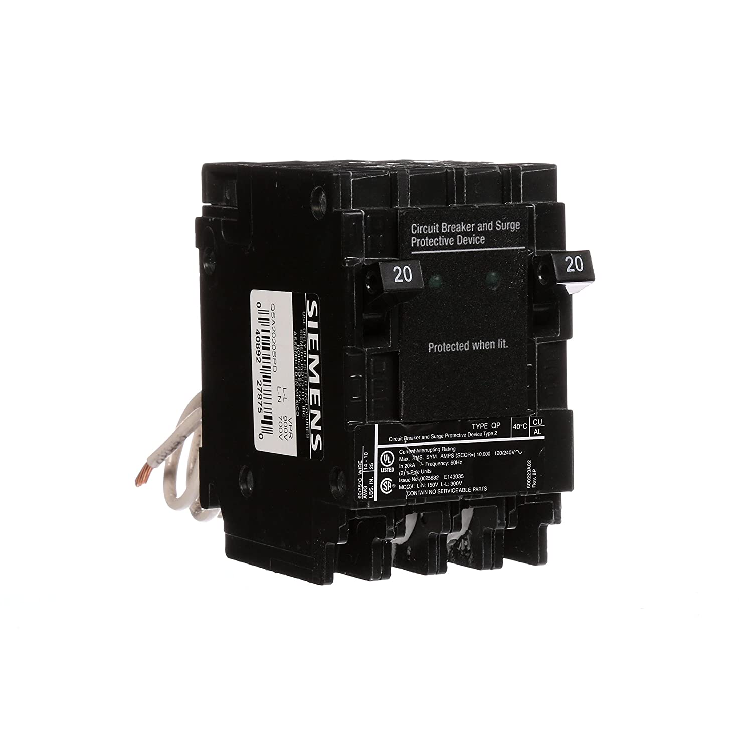 Siemens Qsa2020spd Whole House Surge Protection With Two 20 Amp Wiring Diagram 240 Volt Circuit Shop Pinterest Breakers For Use Only On Panels Main Breaker