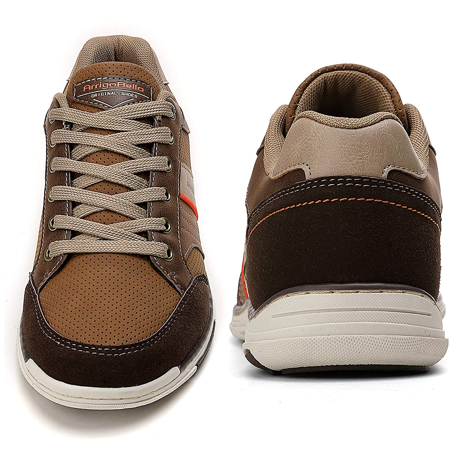 9.5 UK, A9099-Brown AX BOXING Mens Casual Shoes Lace-up Shoes Loafer Flats Classic Non-Slip Walking Gym Shoe Trainers Sport Mens Sneakers Size 7-11