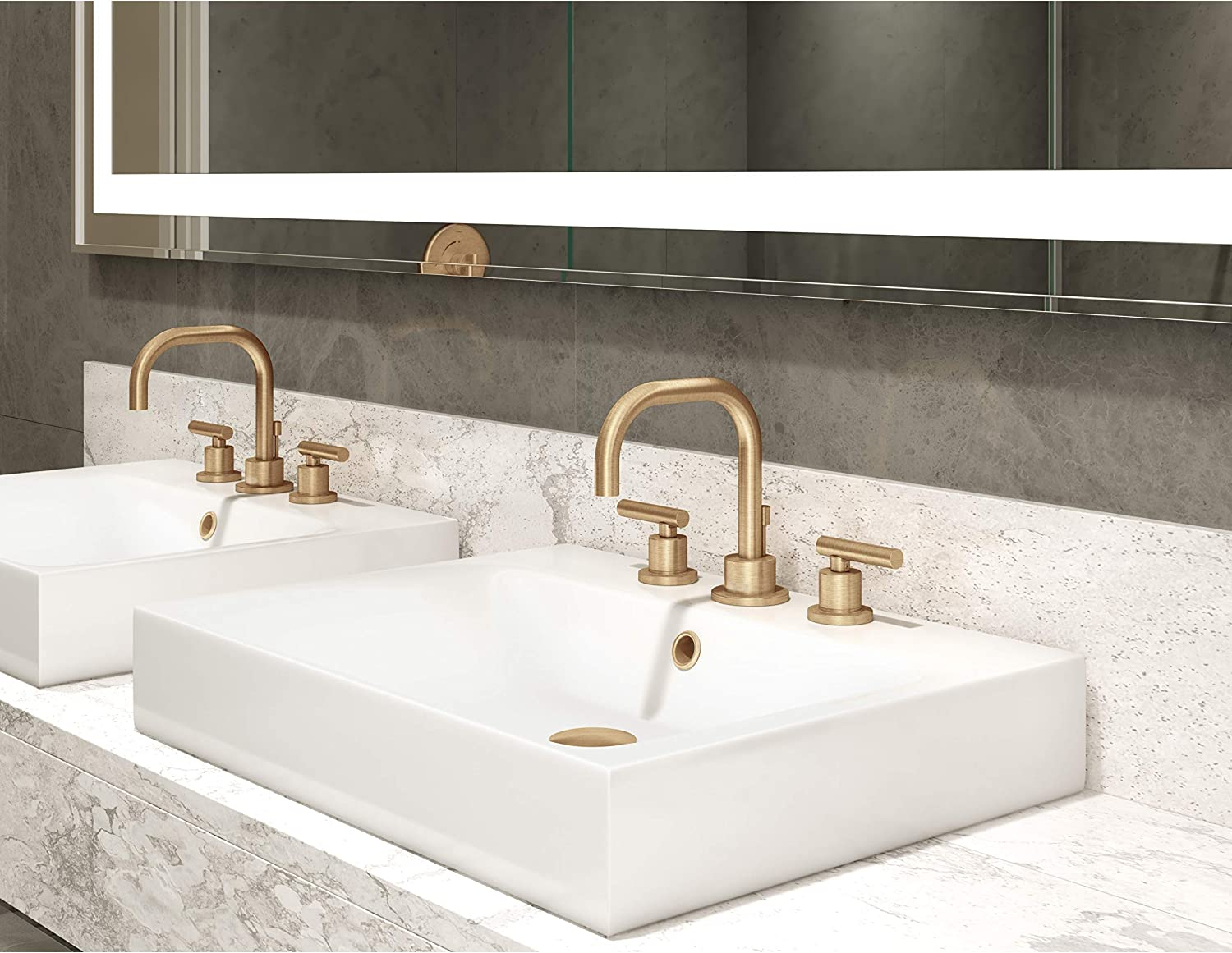 1.5 GPM Symmons SLW-3512-STN-1.5 Dia Widespread 2-Handle Bathroom Faucet with Drain Assembly in Satin Nickel