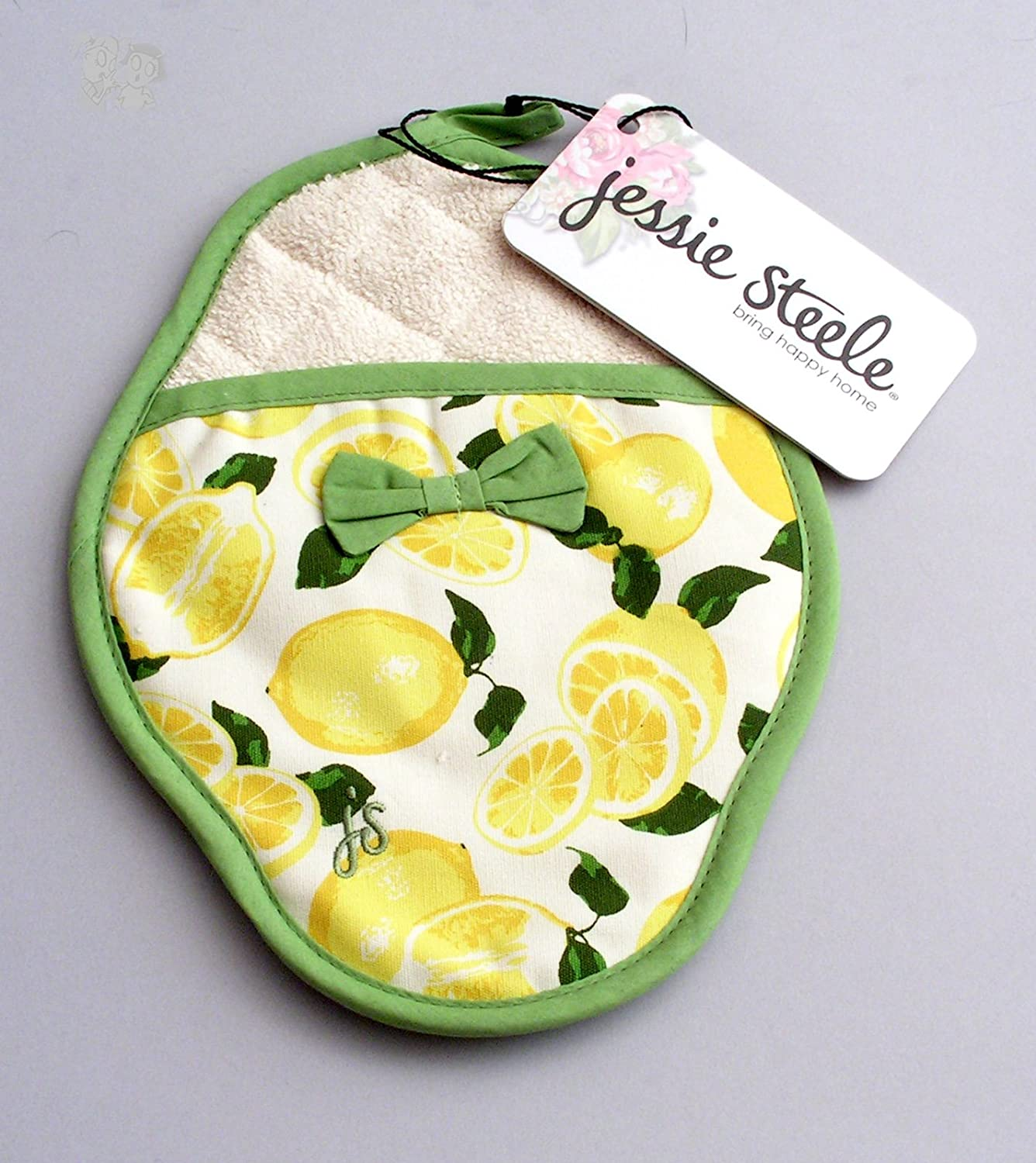 Jessie Steele 601-JS-66B Summer Lemons Scalloped Pott Mitt with Bow