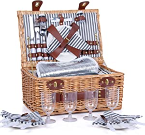 Picnic Basket for 4 Wicker Picnic Hamper Set with Insulated Liner for Camping,Wedding,Valentine Day,Gift ,Reinforced Handle, Gray