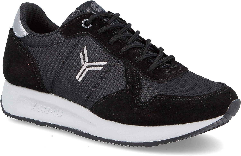 Zapatilla Sneaker Yumas Venus Negro Fabricado en Piel Vuelta y nilon Plantilla Latex para Mujer