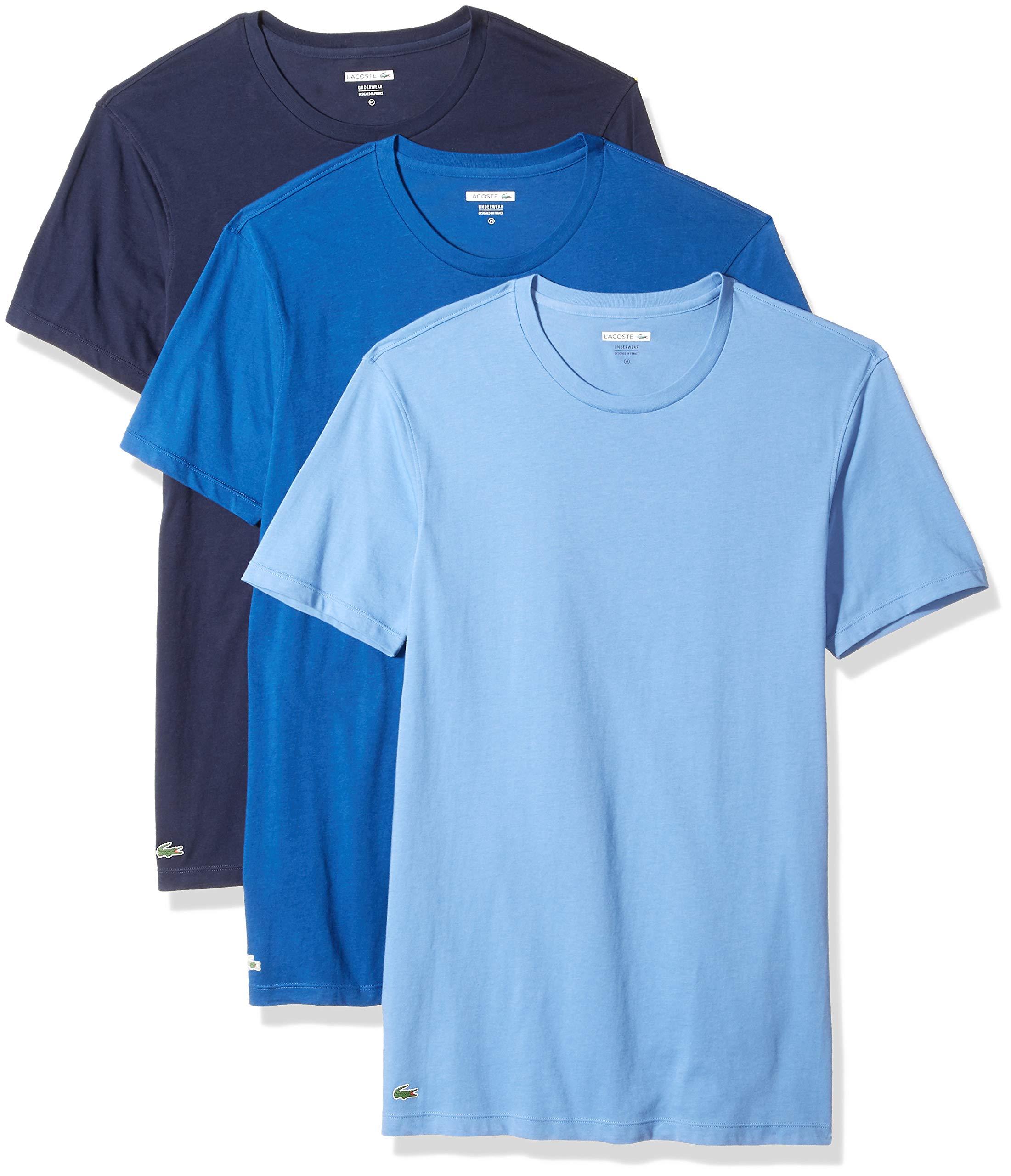 Lacoste Men's Essentials Cotton Crew-Neck T-Shirt (Pack of 3), Navy/Blue Yonder/Limoges, L