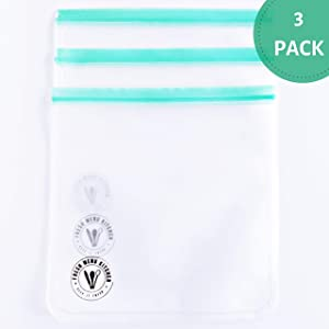 Fresh Menu Kitchen 3 Reusable Freezer Bags 1 Gallon - Extra Thick and Large Reusable Storage Bag with Airtight Seal Perfect for Soups, Kitchen Storage and Freezer Meals