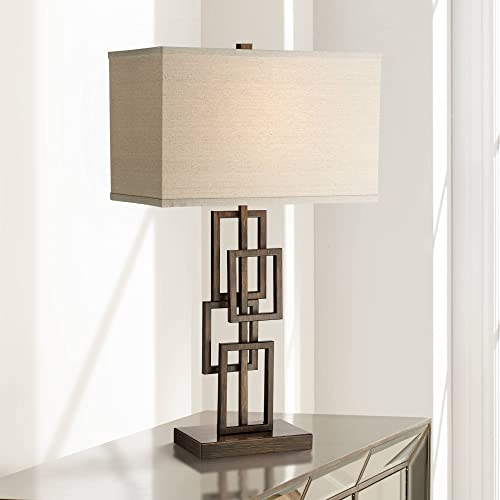 Kory Modern Table Lamp Dark Bronze Metal Stacked Geometric Base Rectangular Shade for Living Room Family Bedroom Bedside – 360 Lighting