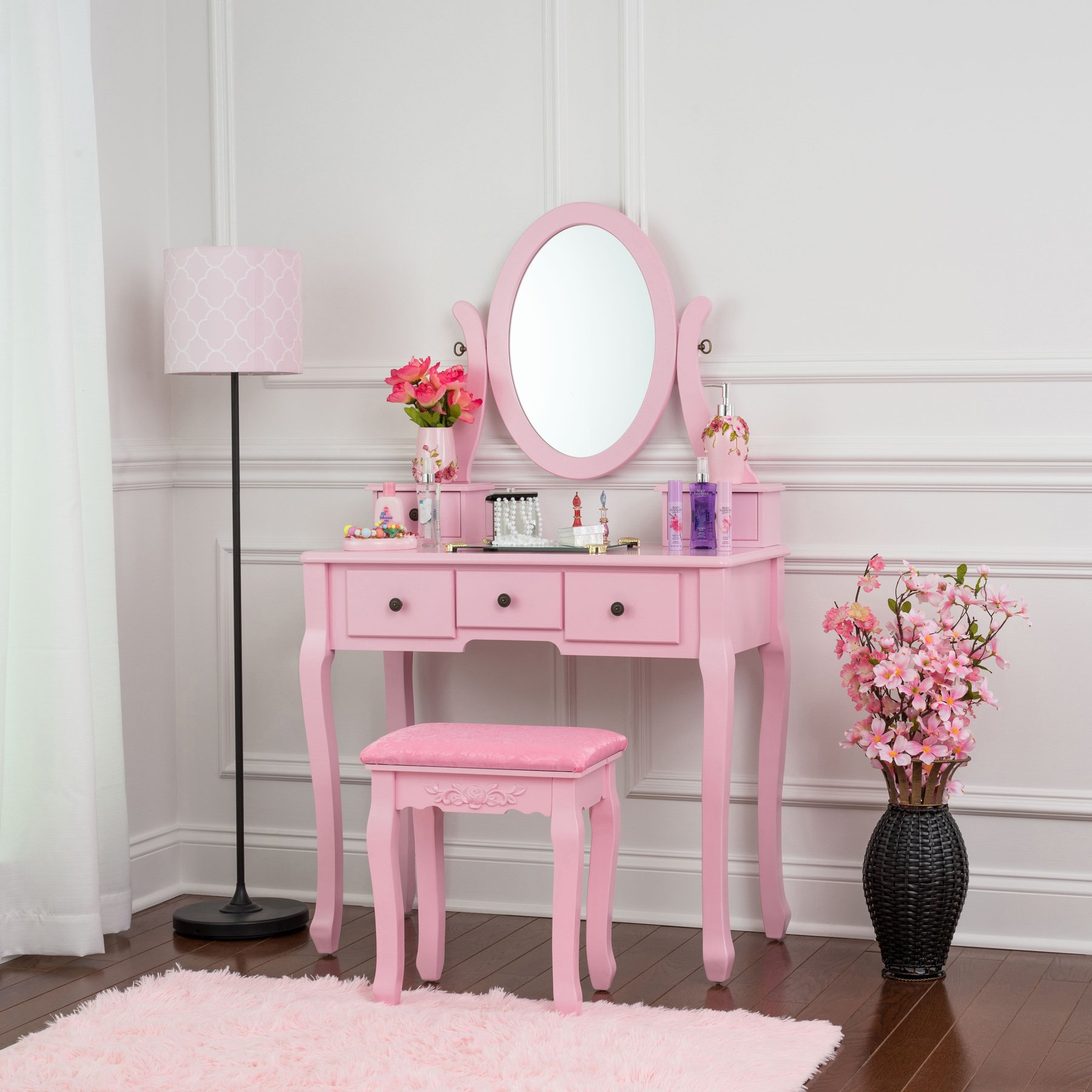 Fineboard HFB-VT07-PK Single Mirror Dressing Set Five Organization Drawers Vanity Table with Wooden Stool, Pink
