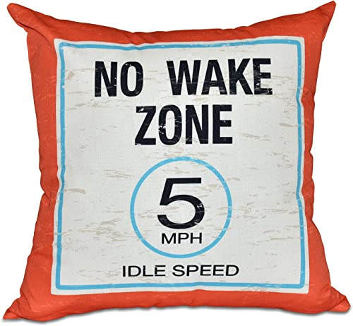 E by design No Wake Word Print Pillow, 20 x 20 , Orange