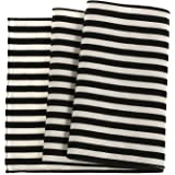 """Ling's moment Durable Black and White Striped Table Runner Father's Day 12"""" x 72"""" 6 FT Polyester Cotton Wedding Reception Top Decoration For Bridal Baby Shower Wedding Birthday Party"""