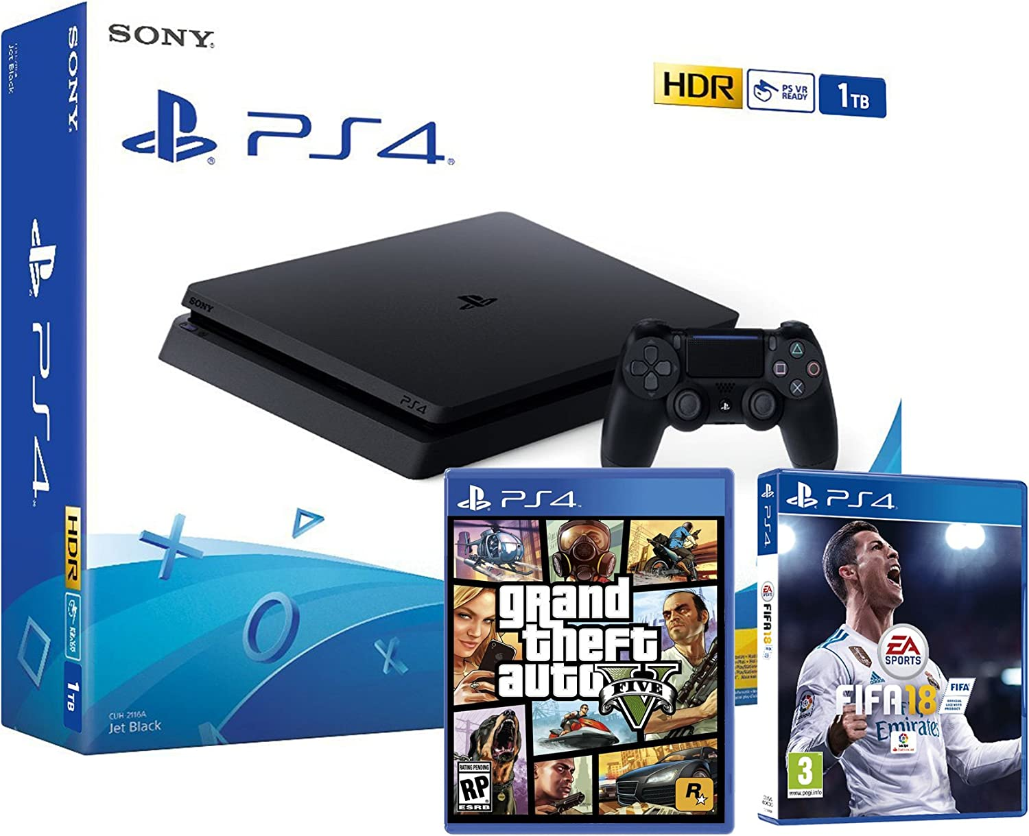 PS4 Slim 1Tb Negra Playstation 4 Consola - Pack 2 Juegos - FIFA 18 + GTA V: Amazon.es: Videojuegos