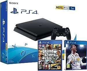 PS4 Slim 1Tb Negra Playstation 4 Consola - Pack 2 Juegos - FIFA 18 ...