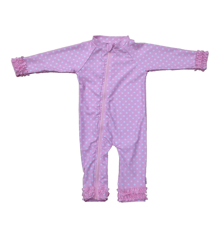 SwimZip Little Girl Long Sleeve Sunsuit Romper Swimsuit UPF 50 Sun Protection SZIGIRLSUNSUITLONGSLV01