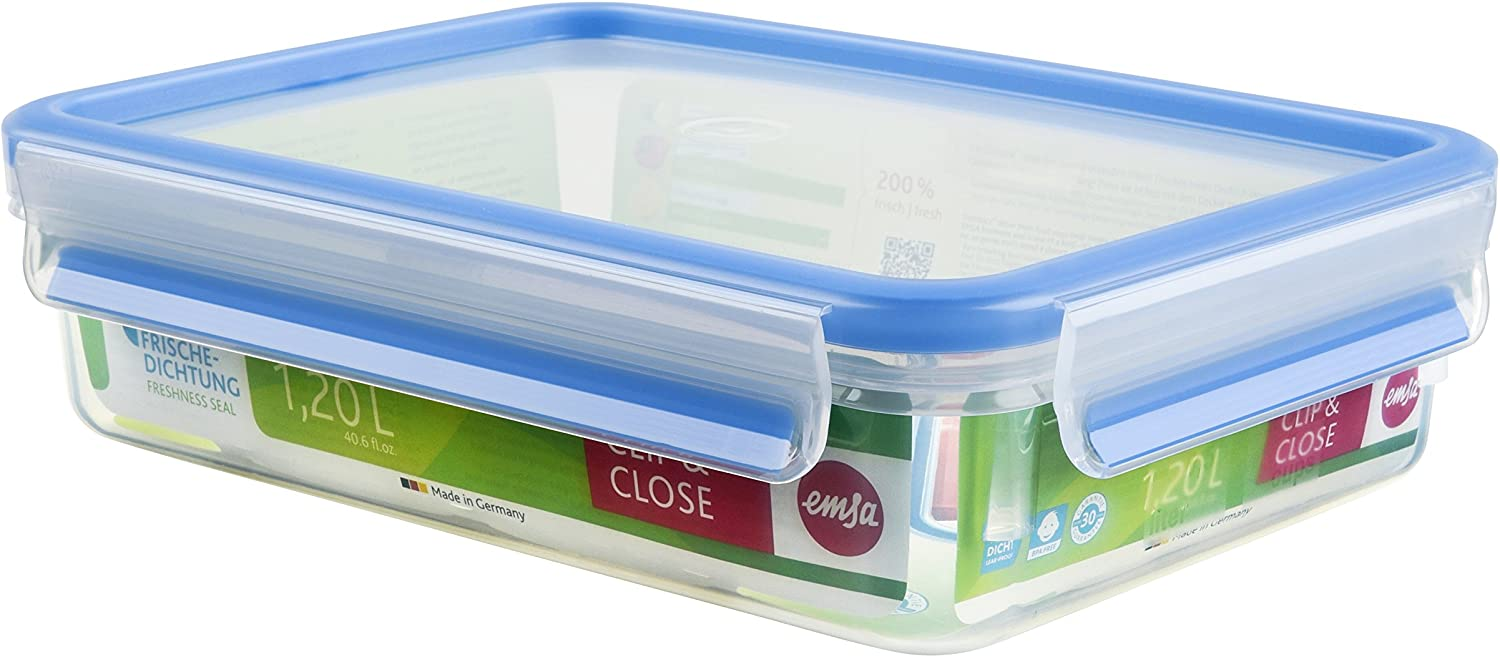 Emsa Clip and Close Storage Container, Rectangular, 40.5 Ounces