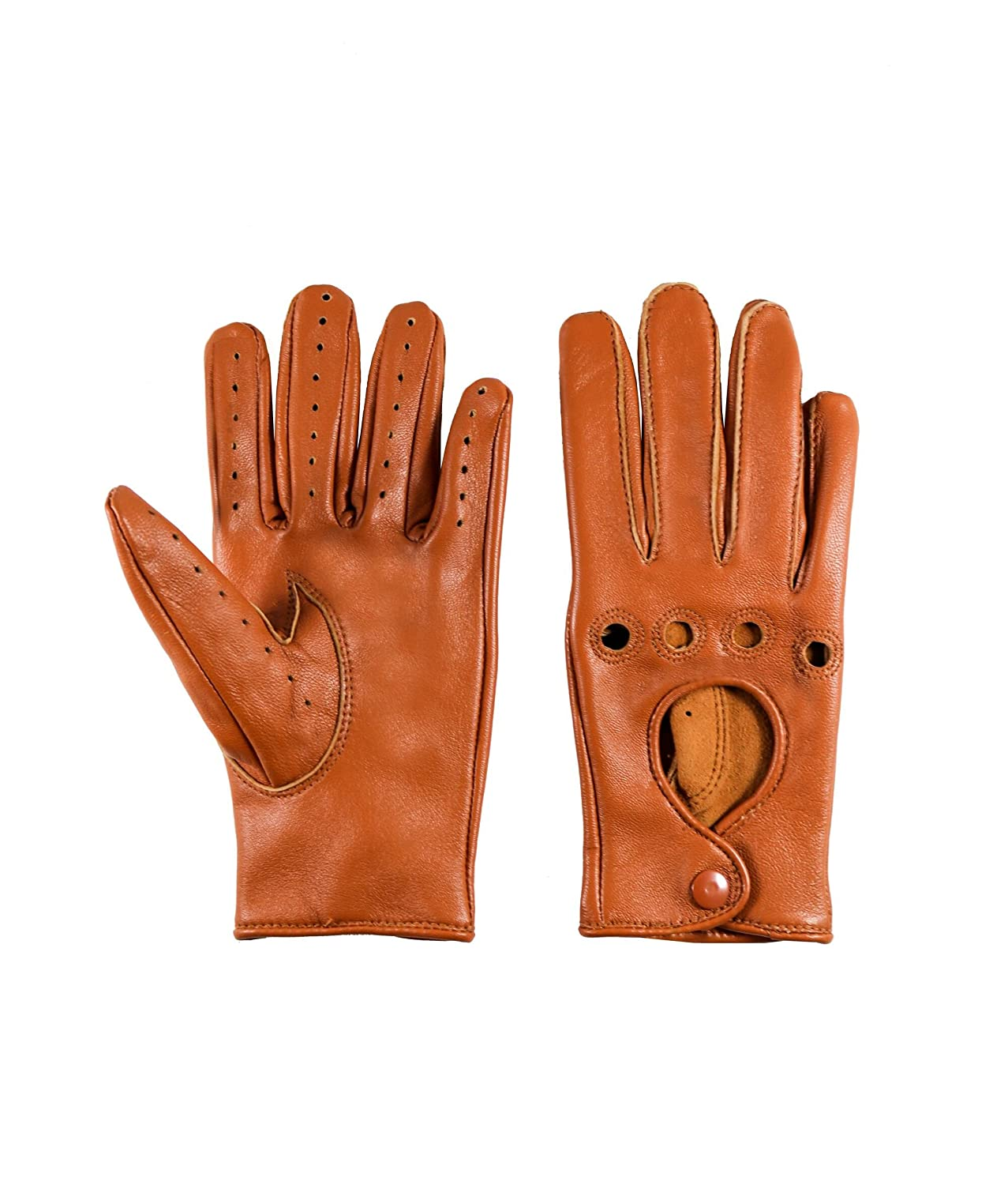 Women Unlined Genuine Leather Driving Gloves (LARGE, TAN) SI