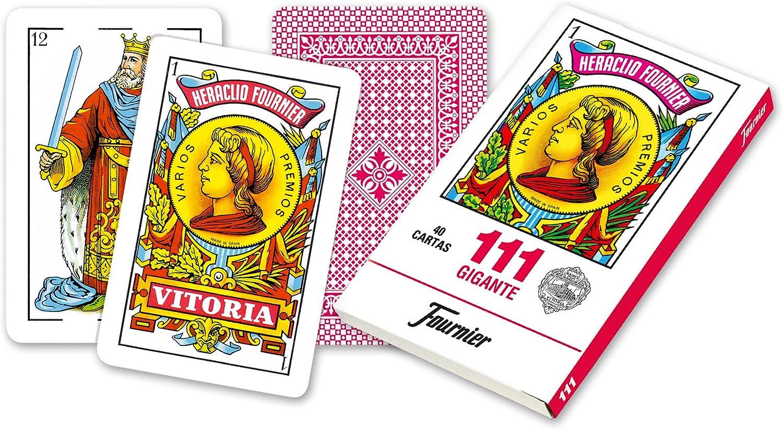 Fournier- Nº 111 Baraja Grande de 40 Cartas Gigantes, Color Rojo ...