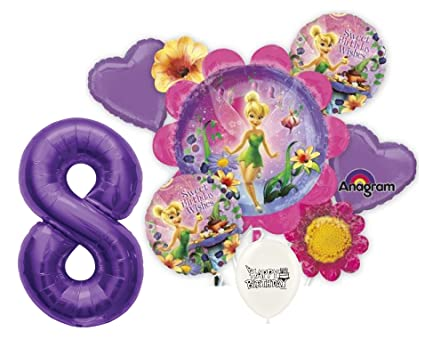 8th Birthday Wishes Purple Number Tinkerbell Party Decorations Balloon Bouquet By Ballooneys