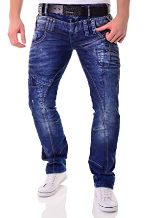 5e2b93df66 Cipo   Baxx Men s Blue Jeans Trousers Pants with Double Waist and Seams ...