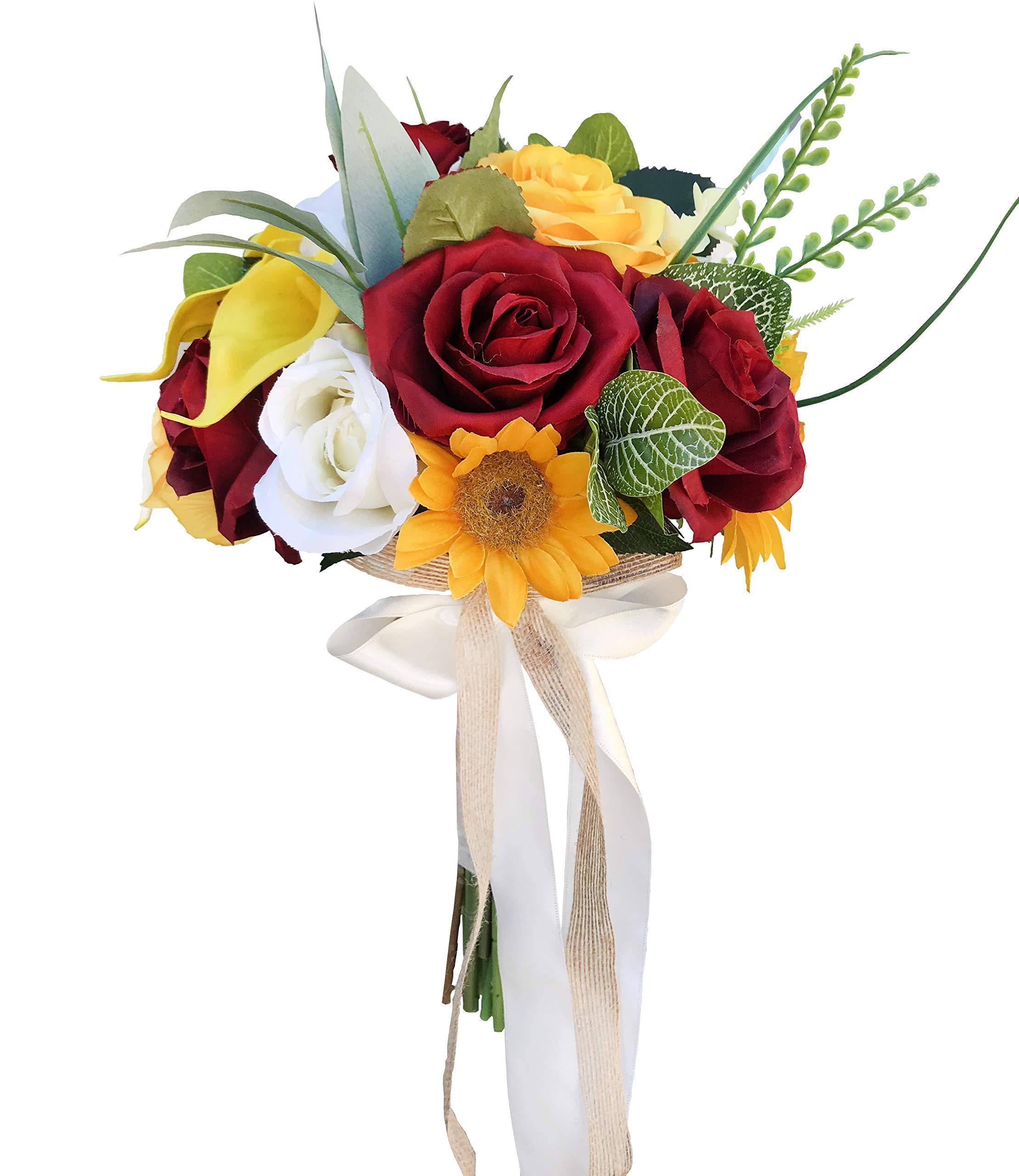 Dalamoda Holding Flowers Sunflower Bouquet Artificial Silk Flowers Fake Rose For Wedding Party Valentine S Day Pack 1 Silk Flower Arrangements