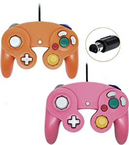 Poulep 2 Packs Classic Wired Gamepad Controllers for Wii Game Cube Gamecube Console (Brown)