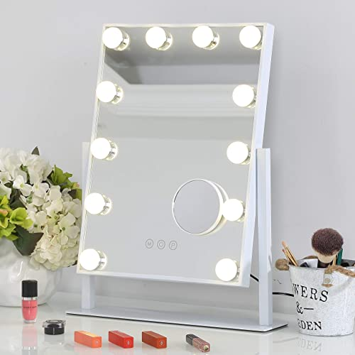 Fenair Makeup Vanity Mirror With Lights, Large Lighted Vanity Makeup Mirror 47cm x30cm – Hollywood Style,3 Color Lighting Model,360 Rotation Cosmetic Mirror With 12 Detachable Dimmable Bulbs