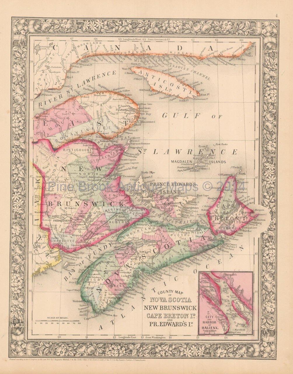 Nova Scotia New Brunswick Antique Map Mitchell 1865