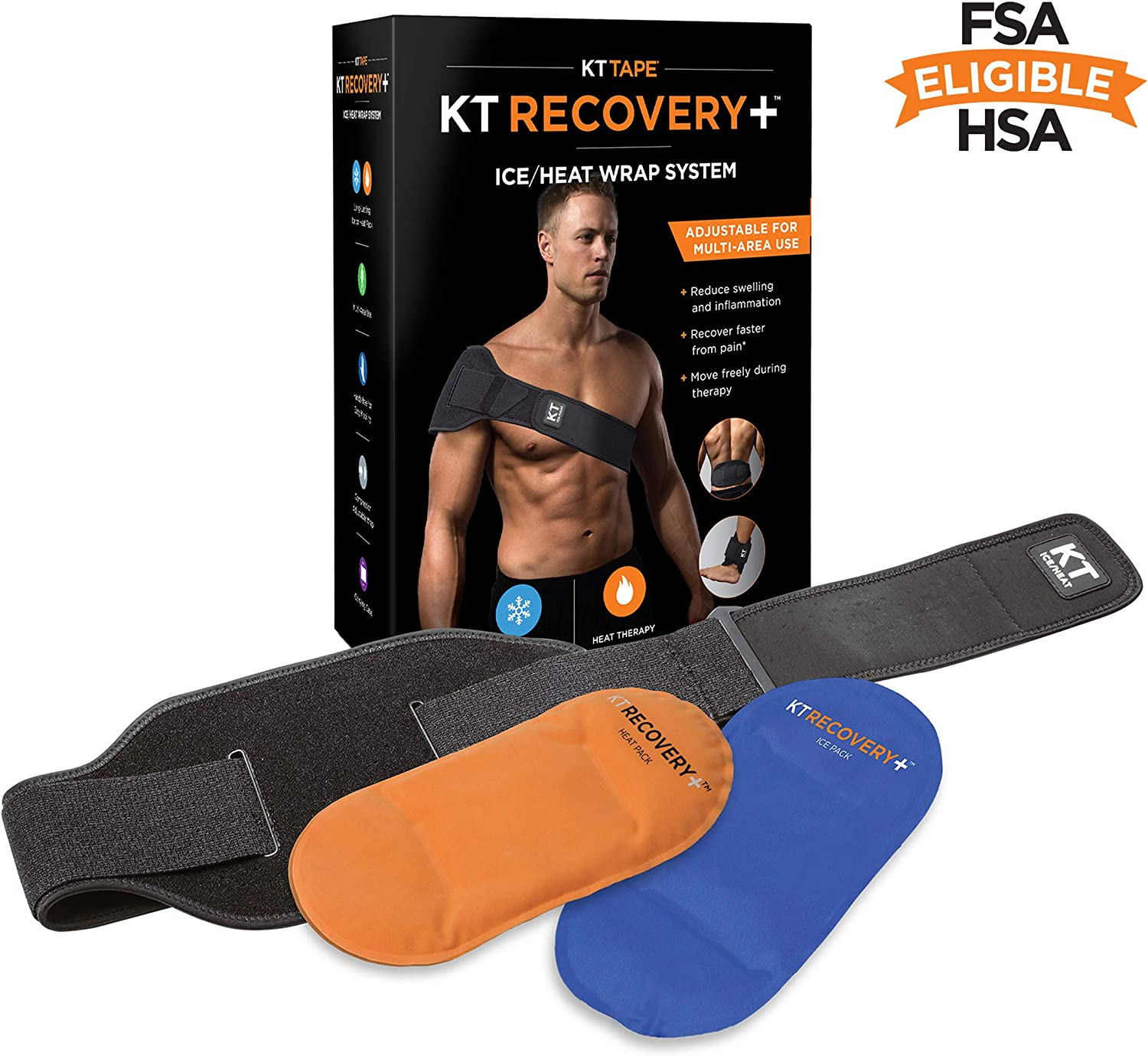 KT TAPE Recovery+ Compression Pad Therapy System, Heating & Ice Pack with Adjustable Wrap for Back/Muscle Pain Relief, Black