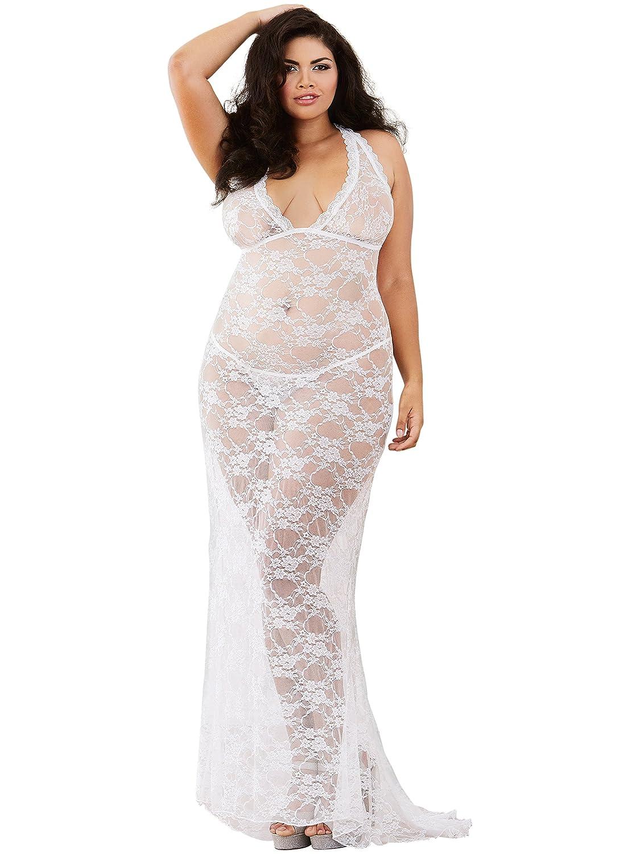 DreamGirl Womens Plus-Size Plus Size Stretch Lace Gown Bridal Set Pearl White 3X Dreamgirl International 10131X