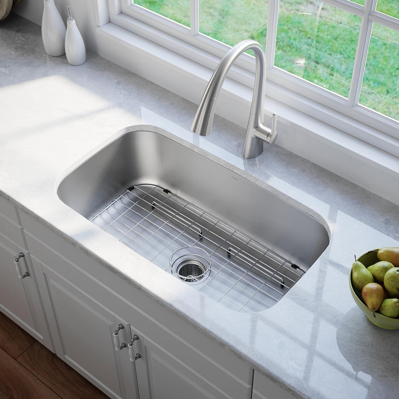 Kraus KBU14 31-1 2 inch Undermount Single Bowl 16-gauge Stainless Steel Kitchen Sink