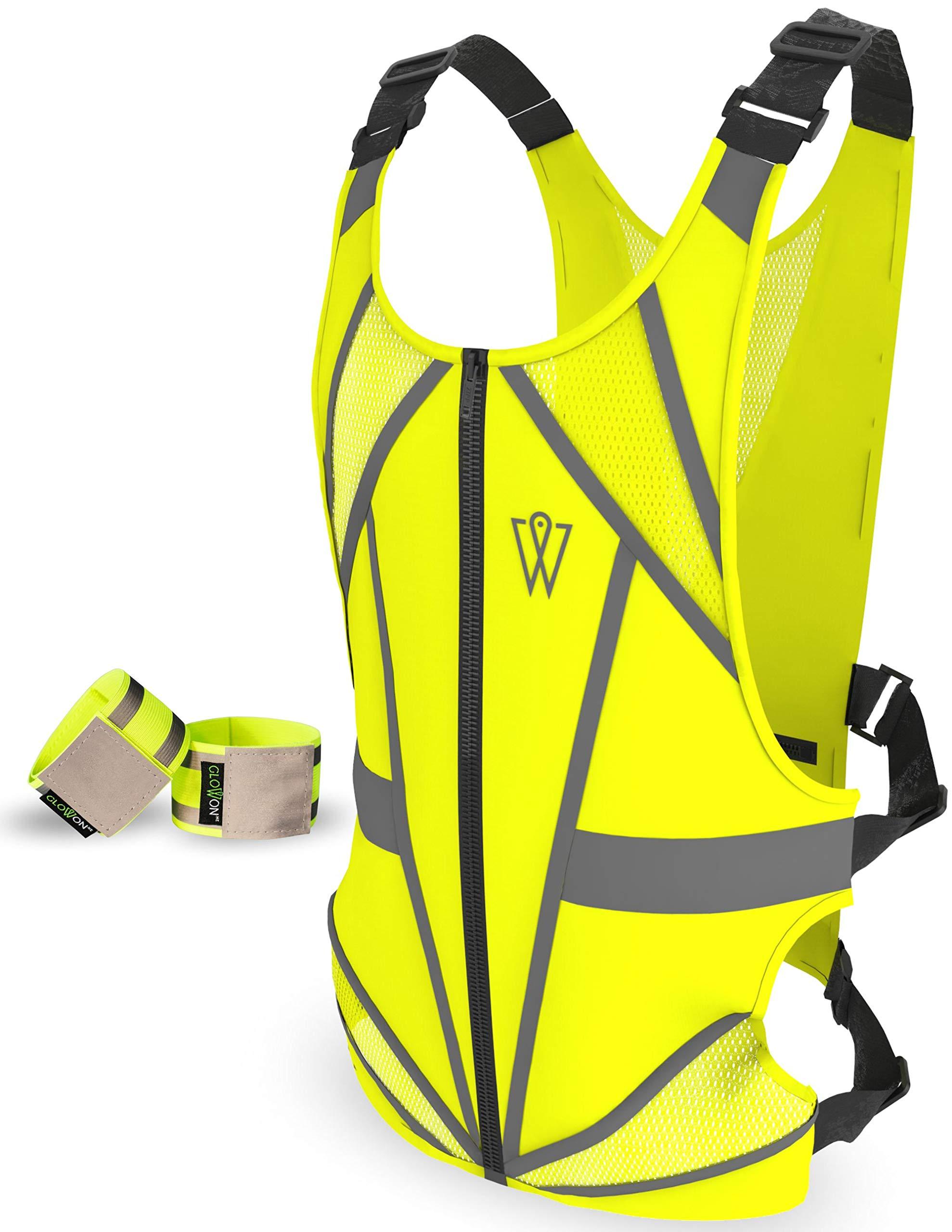 W Reflective Running Vest | Reflective Gear for Running, Cycling, Jogging, Walking, Motorcycle | Adjustable | Front Zipper | Large Back Pocket | Bonus Set of 2 Adjustable Bands | for Men and Women