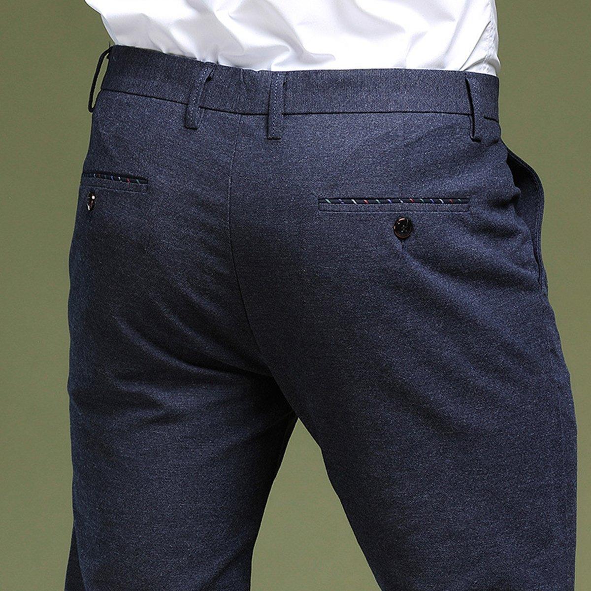 0946d12fce Zhhlinyuan Flat-Front Pant Pantalón de Traje Entallado para Hombre Slim  Casual Oficina Negocio Pantalones Tamaño 30-40 Disponible  Amazon.es  Ropa  y ...