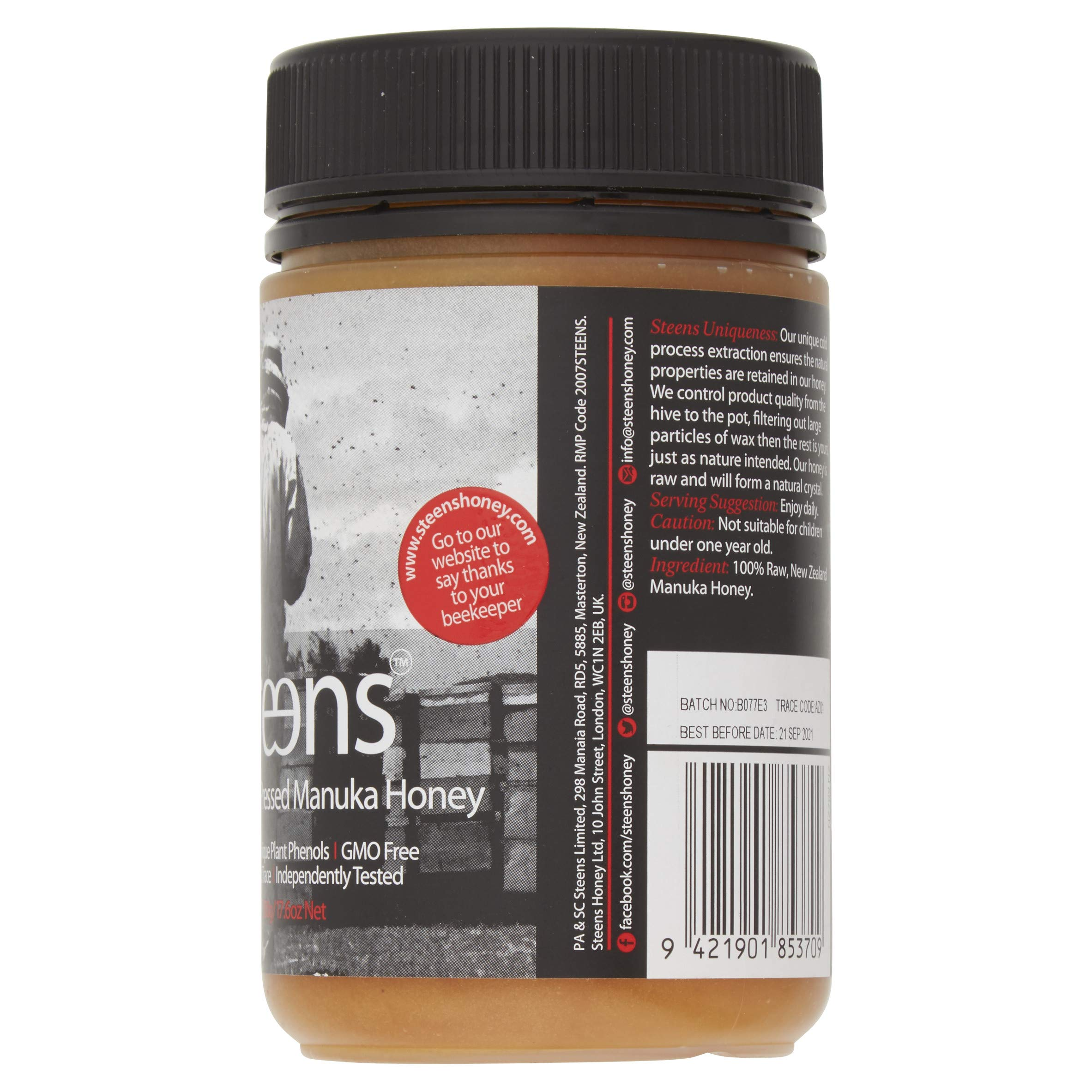 Steens Manuka Honey UMF 15 (MGO 514) 17.6 Ounce jar   Pure Raw Unpasteurized Honey From New Zealand NZ   Traceability Code on Each Label by Steens (Image #4)